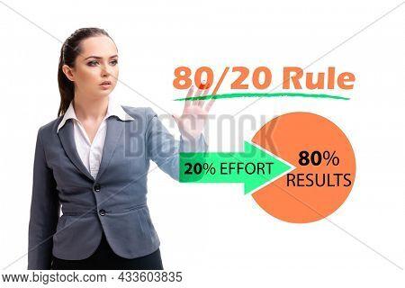 Businesswoman in pareto rule illustration