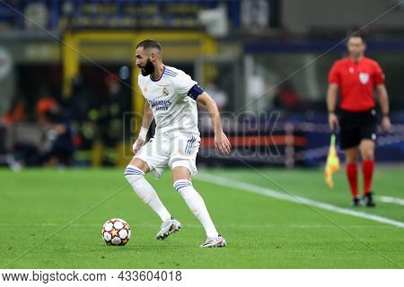 Milano, Italy. 15 September 2021. Karim Benzema Of Real Madrid Cf  In Action During The  Uefa Champi