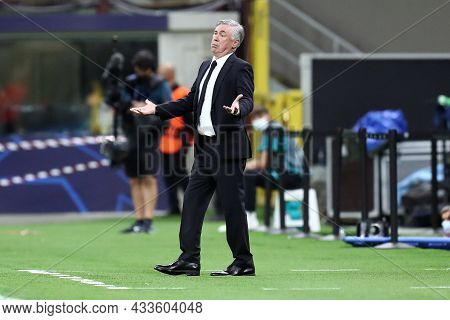 Milano, Italy. 15 September 2021. Carlo Ancelotti, Head Coach  Of Real Madrid Cf  Gestures During Th