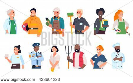 People Of Different Professions. Cartoon Worker Portraits To Waist With Hands. Multiethnic Men And W