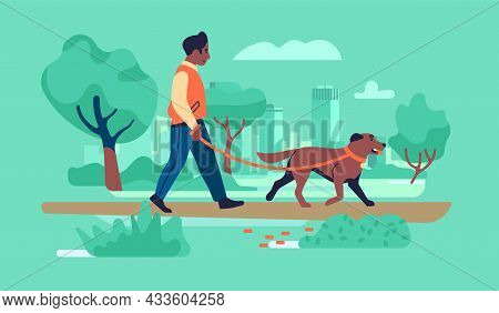 Walk With Dog. Man Promenades In City Park With Pet On Leash. Owner With Four Legged Friend. Outdoor