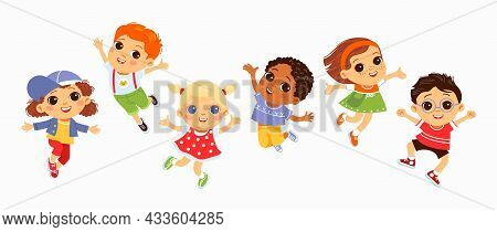 Happy Jumping Kids. Funny Children, Active Little Friends In Flying Poses, Boys And Girls Characters