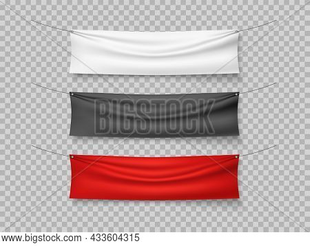 Color Textile Banners. Different Colors Hanging Canvas, Red, Black, White Textile Mockup, Empty Blan