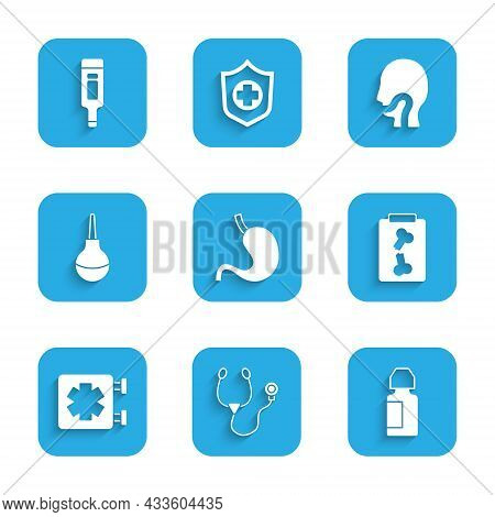 Set Human Stomach, Stethoscope, Eye Drop Bottle, X-ray Shots, Medical Symbol Of The Emergency, Enema