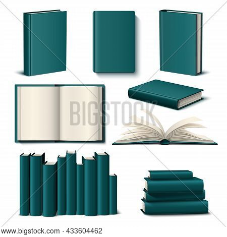 Realistic Color Books Mockup. 3d Empty Elegant Design Book Template, Dark Green Hardcover And Ivory