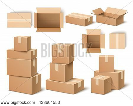 Realistic Cardboard Boxes. Paper Parcels, Post Delivery Opened And Closed, Different Angles Containe