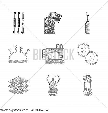 Set Sewing Machine, Zipper, Yarn, Button, Layers Clothing Textile, Needle Bed And Needles, Awl Tool