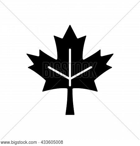 Maple Leaf Black Glyph Icon. Common Used Symbol Of Canada. Historic Sign. Central Element Of Canadia