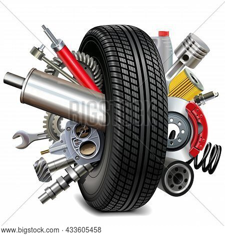 Vector Car Parts With Tire Isolated On White Background
