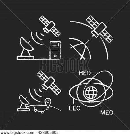 Satellite Radionavigation Chalk White Icons Set On Dark Background. Satellite Orbits, Trajectories.