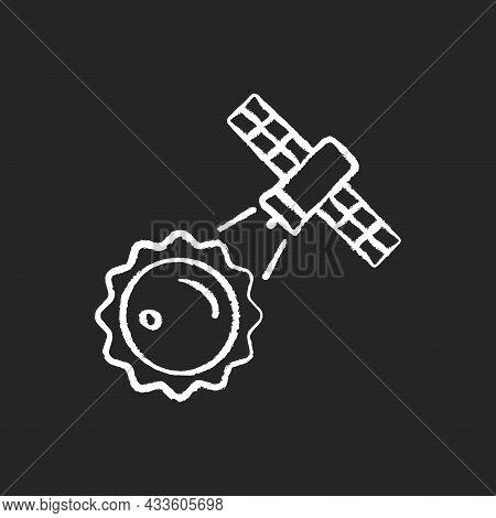 Sun Observation Process Chalk White Icon On Dark Background. Interstellar Research Mission. Heliophy
