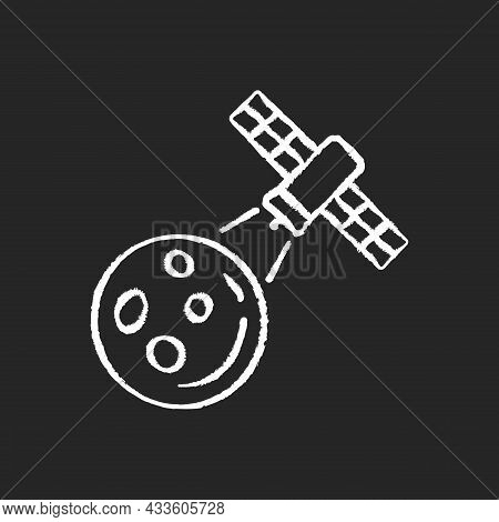 Moon Observation Process Chalk White Icon On Dark Background. Lunar Surface Research Mission. Moon I