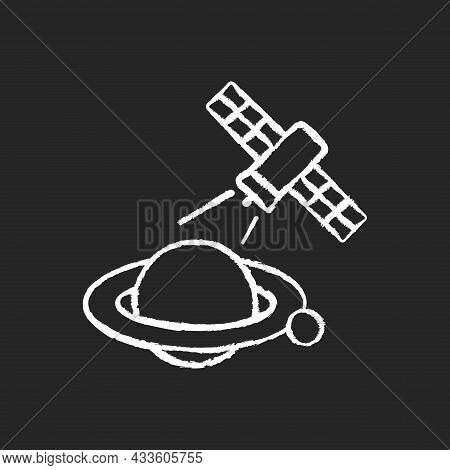 Planets Observation Process Chalk White Icon On Dark Background. Capturing Planetary Anomalies With