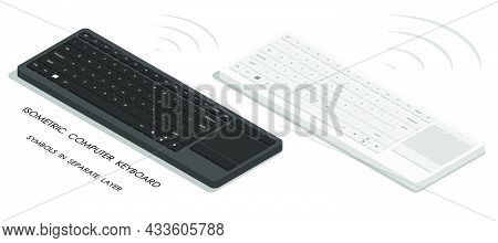 Isometric White And Black Wireless Personal Computer Keyboards. English Letters And Symbols On Keybo
