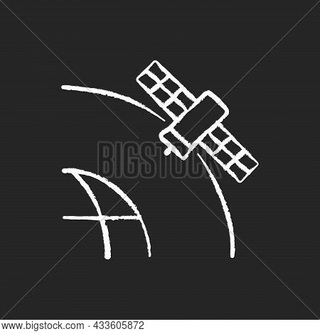 Geostationary Satellite Chalk White Icon On Dark Background. Rotation Of Celestial Bodies In Geostat