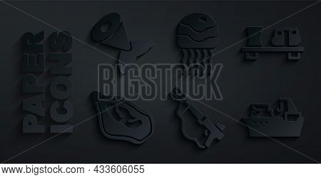 Set Fishing Harpoon, Sushi Cutting Board, Mussel, Boat, Jellyfish And Tail Icon. Vector