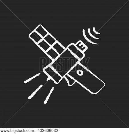 Communications Satellite Chalk White Icon On Dark Background. Transmiting Signal Satelite. Global Te