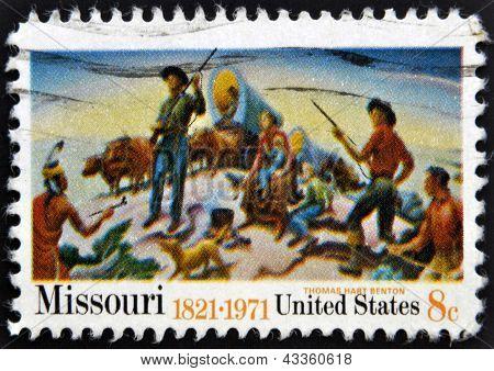 stamp printed in USA shows picture