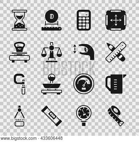 Set Measuring Tape, Cup, Crossed Ruler And Pencil, Calculator, Scales Of Justice, Old Hourglass With