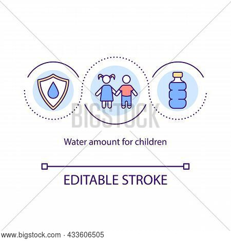 Water Amount For Kids Concept Icon. Child Fluid Balance. Liquid From Food And Beverages. Rehydration