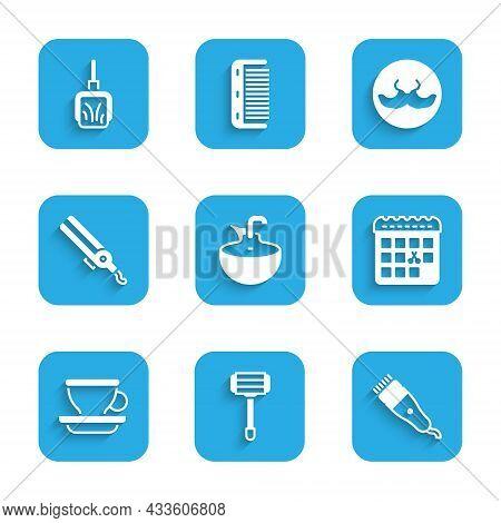 Set Washbasin, Shaving Razor, Electrical Hair Clipper, Calendar With Haircut Day, Coffee Cup, Curlin