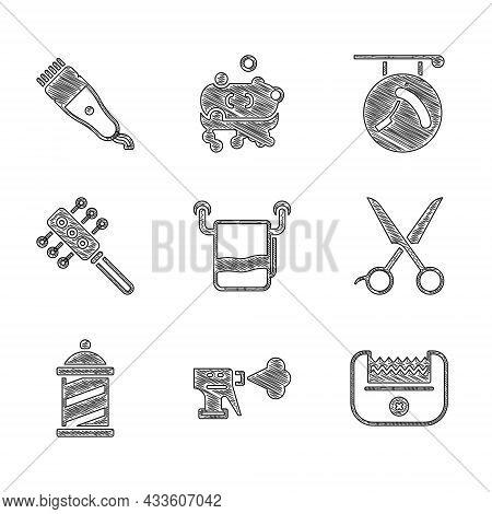 Set Towel On A Hanger, Hairdresser Pistol Spray Bottle, Electrical Hair Clipper, Scissors Hairdresse