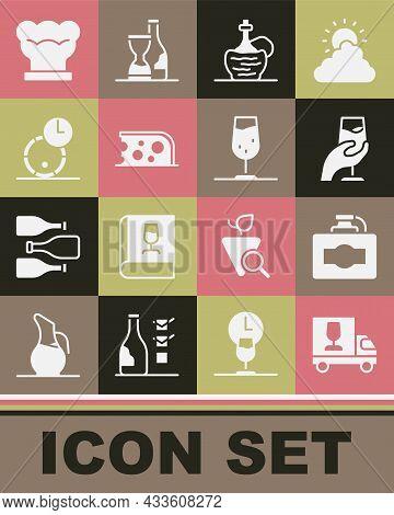 Set Wine Truck, Cardboard Box Of Wine, Tasting, Degustation, Italian Fiasco Bottle, Cheese, Wooden B