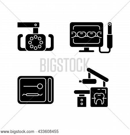 Dental Devices Black Glyph Icons Set On White Space. Lightening Oral Cavity. Intraoral Camera. Uv St