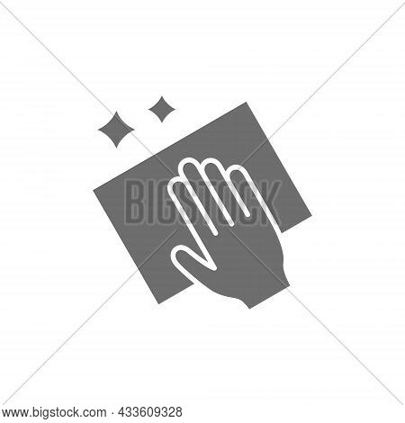 Cleaning With Rag Grey Icon. Isolated On White Background