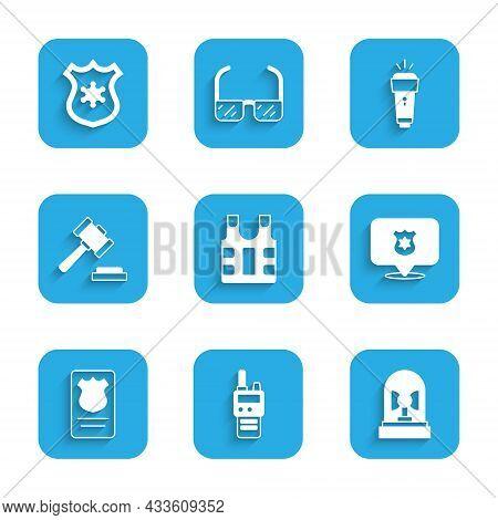Set Bulletproof Vest, Walkie Talkie, Flasher Siren, Police Badge, With Id Case, Judge Gavel, Flashli