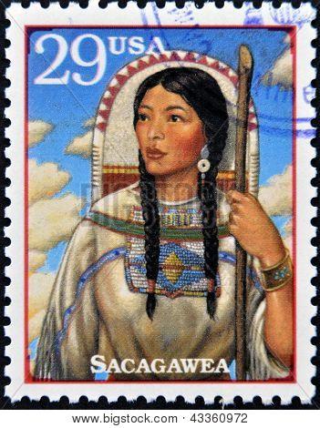 Stamp printed in USA show Sacagawea