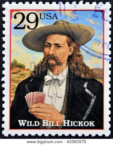 Stamp printed in the USA with portrait Wild Bill HickoK gunfighter scout lawma