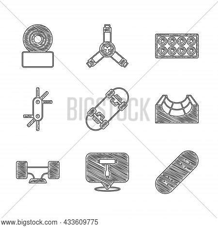 Set Skateboard, T Tool, Park, Wheel, Tool Allen Keys, And Icon. Vector