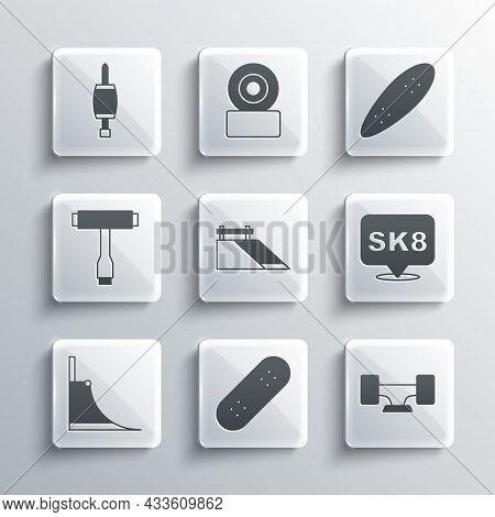 Set Skateboard, Wheel, Park, T Tool, Screwdriver And Longboard Or Skateboard Icon. Vector