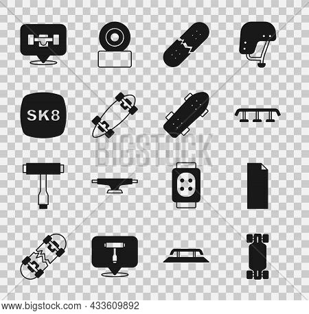 Set Longboard Or Skateboard, Grip Tape, Skateboard Stairs With Rail, Broken Deck, Wheel And Icon. Ve