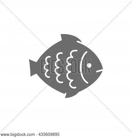 Vector Flounder, Fish, Aquatic Animal Grey Icon.