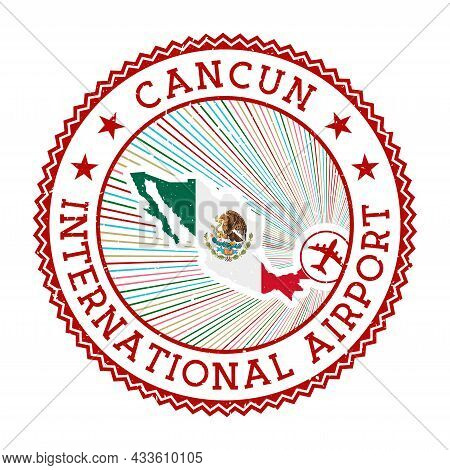 Cancun International Airport Stamp. Airport Logo Vector Illustration. Cancun Aeroport With Country F