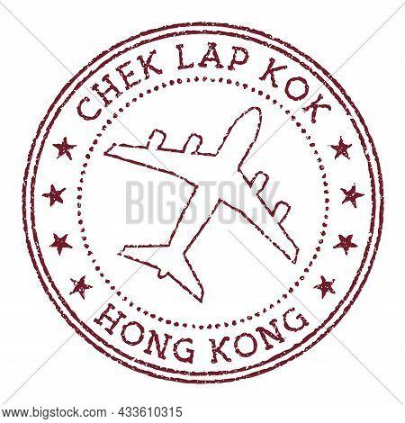 Chek Lap Kok Hong Kong Stamp. Airport Of Hong Kong Round Logo. Vector Illustration.