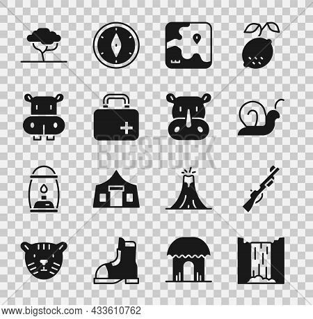 Set Waterfall, Hunting Gun, Snail, Africa Safari Map, First Aid Kit, Hippo Or Hippopotamus, African