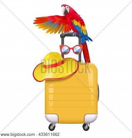 Vector Travel Concept  With Welcoming Parrot  Isolated On White Background