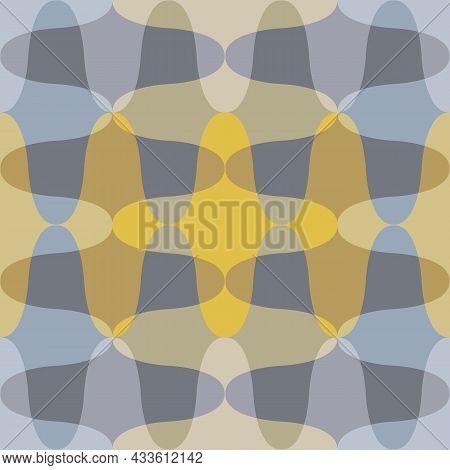 Roman Ogee Abstract Vector Seamless Pattern Background With Elongated Shapes. Yellow Grey Blend Of T