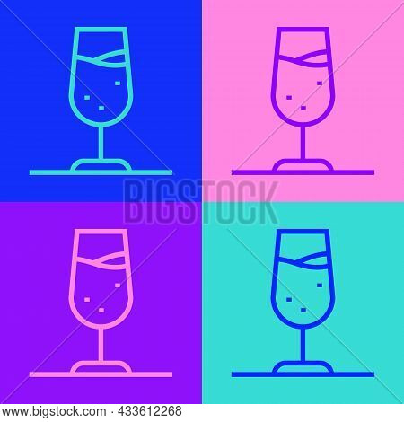 Pop Art Line Wine Glass Icon Isolated On Color Background. Wineglass Sign. Vector