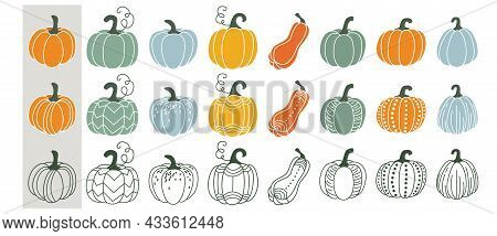 Cute Pumpkin Set Vector Illustration. Gourd In Different Style, Outline, Flat Simple Modern, Doodle