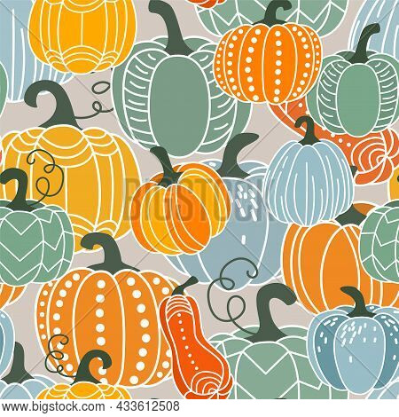 Pumpkin Seamless Pattern Vector Illustration. Gourds In Flat Simple Modern Doodle Style. For Thanksg