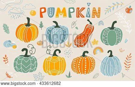 Pumpkin Vector Illustration In Flat Naive Simple Modern Style. Autumn Decorative Gourd, Leaves, Rain