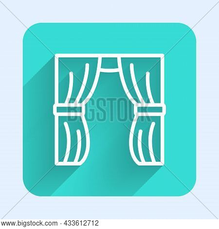 White Line Circus Curtain Raises Icon Isolated With Long Shadow Background. For Theater Or Opera Sce