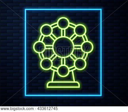 Glowing Neon Line Ferris Wheel Icon Isolated On Brick Wall Background. Amusement Park. Childrens Ent