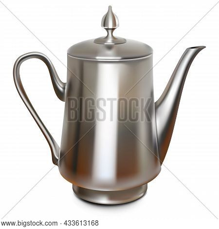 Vector Copper Coffee Pot Isolated On White Background