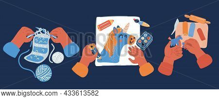 Vector Illustration Of Creative Kids Lab, Top View Table With Creative Kids Hands, Sketching, Knitti