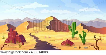 Desert Background With Cactus, Arizona Landscape, Vector Cartoon Illustration. Mexico Or Wild West T